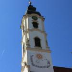 Kirchturm mit Sonnenuhr Wallfahrtskirche Steinhausen