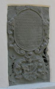 Inschrift Außenwand Kirche Kißlegg