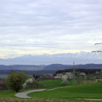 Blick auf Alpen
