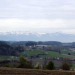 Blick auf Alpen von Ottershofen