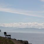 Sitzbank vor Alpenpanorama Strandbad Eriskirch