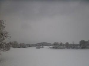 Schienen in Oberschwaben im Winter