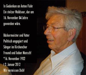 Gedenkbanner für Anton Fluhr