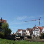 Bruecke und Wehr Donauinsel Riedlingen