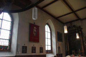 Spitzbogenfenster und Heiliger Mauritius Abbildung Kirche Billafingen
